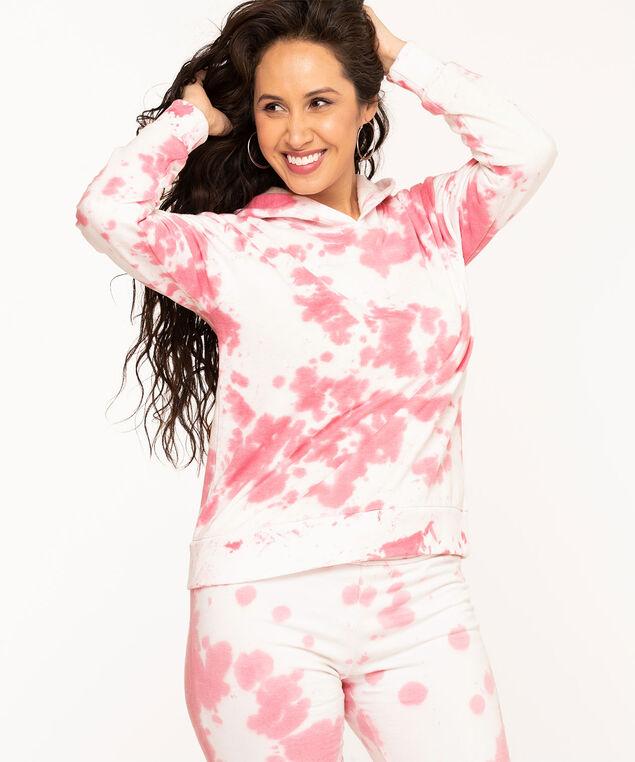 Tie Dye Fleece Pullover Hoodie, Pink Mix