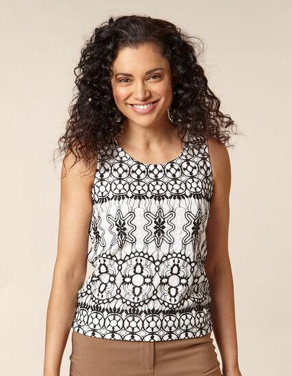 White Lace Sleeveless Knit Top, White/Black, hi-res