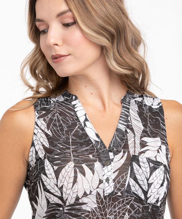 Black Sleeveless Burn-Out Print Top, Black/White Leaf