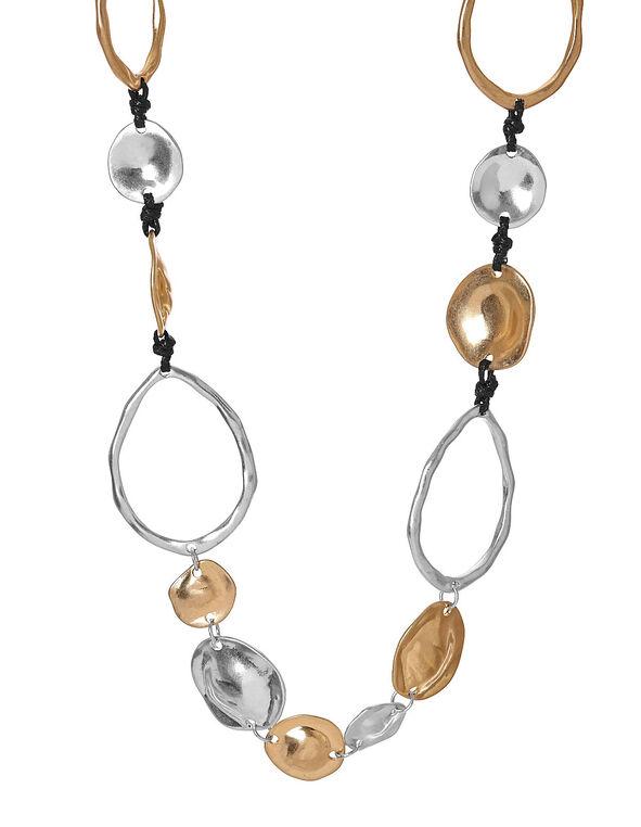 Tri Metal Hammered Necklace, Gold/Silver, hi-res