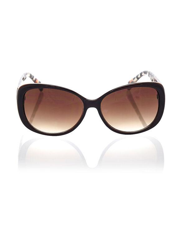 Brown Animal Print Sunglasses, Brown, hi-res