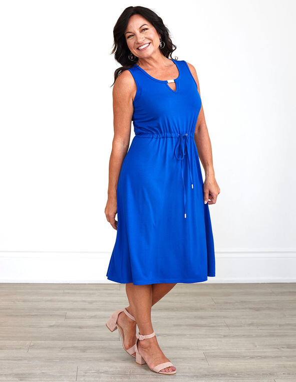 Electric Blue Tie Waist Dress, Electric Blue, hi-res