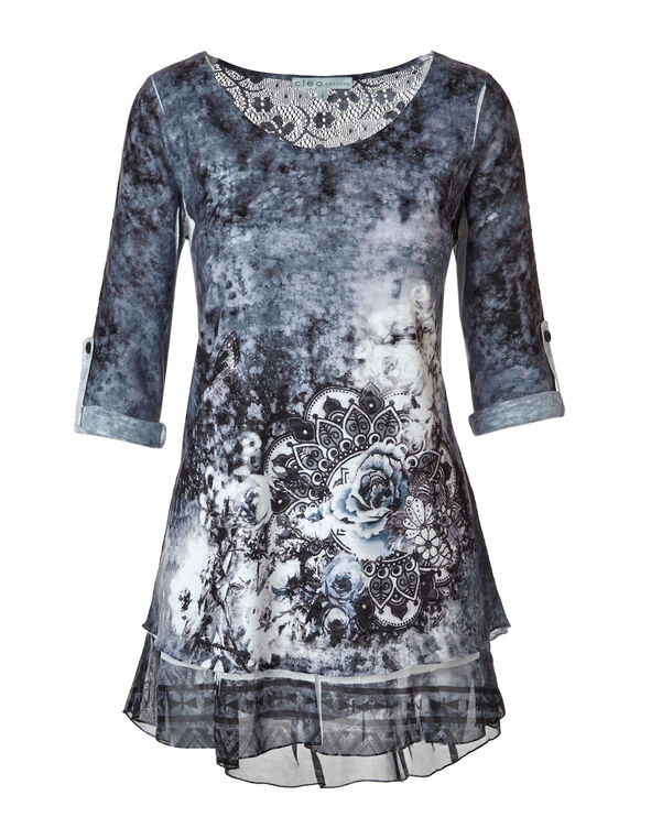 Blue Printed Tunic Top, Blue, hi-res