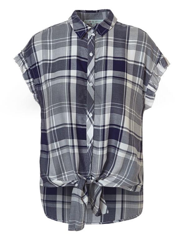 Plaid Button Up Tie Blouse, Blue Plaid, hi-res