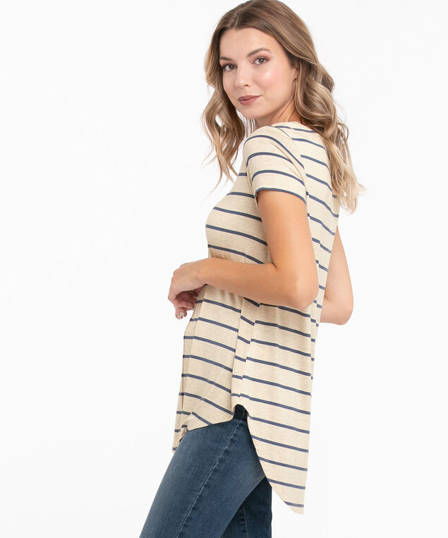 Striped Short Sleeve Tunic Top, Oat Mix/Indigo Stripe