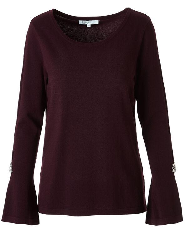Burgundy Bell Sleeve Sweater, Burgundy, hi-res