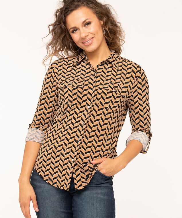 Collared Roll Tab Sleeve Top, Camel/Black/Ivory, hi-res