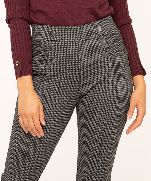 Houndstooth Button Detail Legging, Charcoal/Black