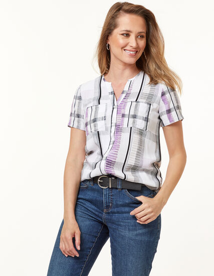 Button Front Blouse, White/Purple, hi-res