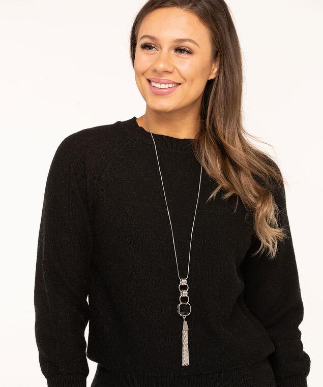 Black Stone Tassel Pendant Necklace, Silver/Black