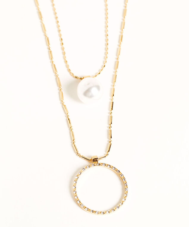 Layered Gold Pendant Necklace, Gold/Pearl, hi-res