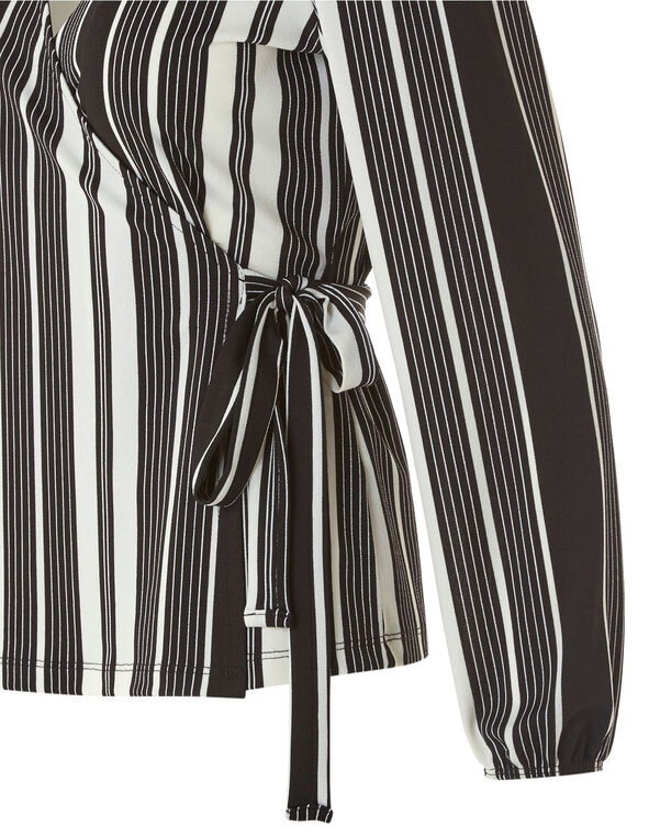 Black Striped Wrap Top, Black/White, hi-res