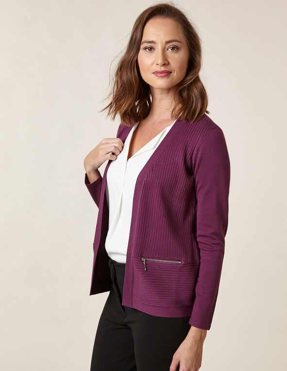 Berry Rib Knit Zip Cardigan, Berry/Purple, hi-res