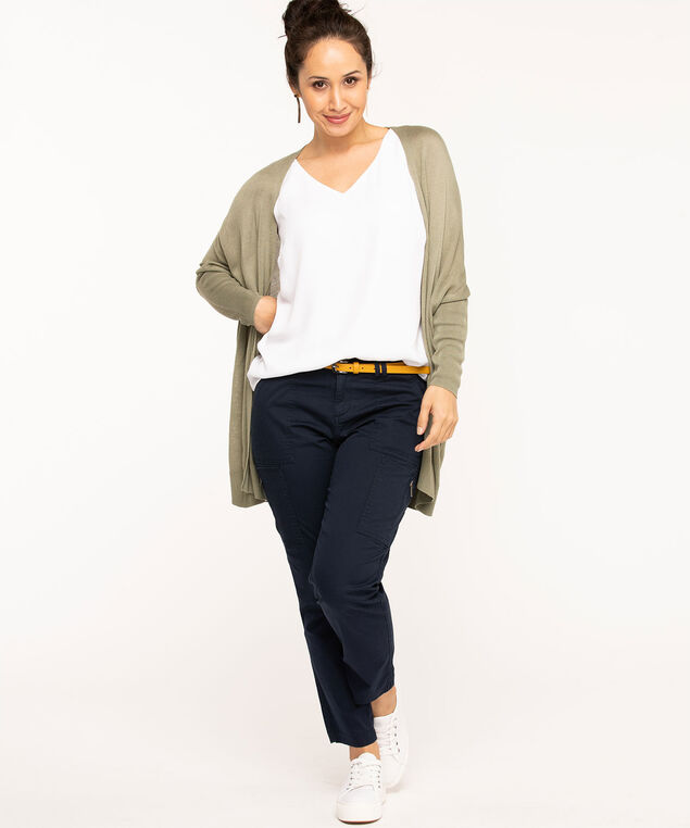 Long Open Front Cardigan, Olive