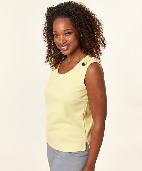 Waffle Knit Top, Yellow/Citrus, hi-res