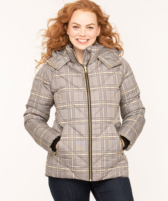 Printed Faux Down Puffer Jacket, Black/Gold Plaid
