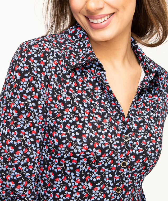 Collared 3/4 Sleeve Popover Top, Black Floral