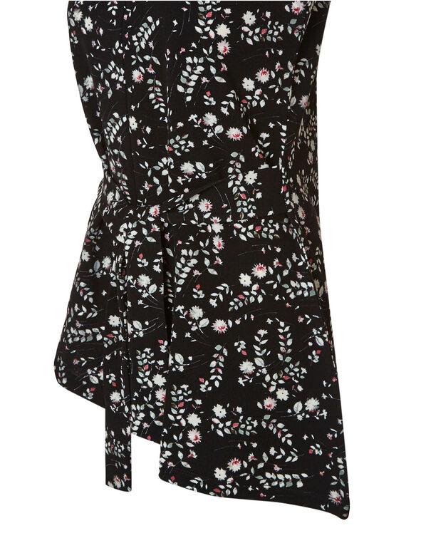 Floral Waist Tie Top, Black, hi-res