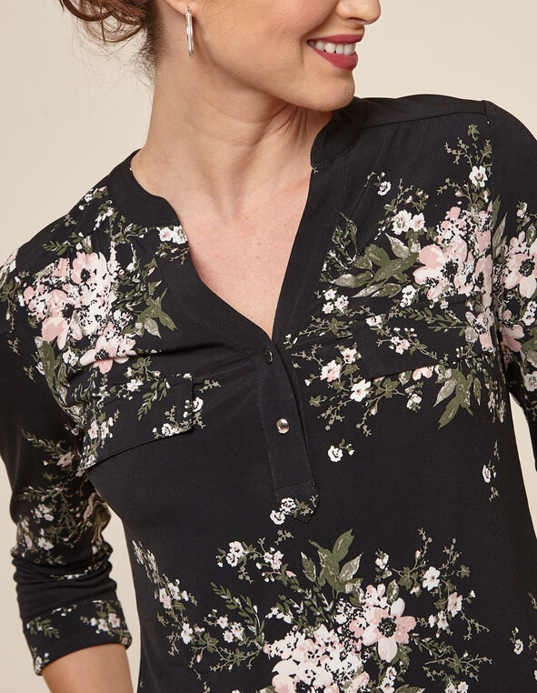 Black Floral Utility Top, Black, hi-res