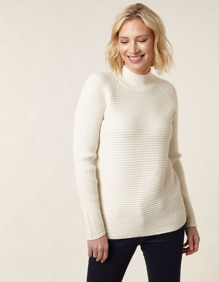 Ivory Mock Neck Sweater, Natural, hi-res