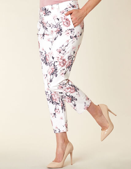 Floral Chino Slim Ankle Pant, White/Pink, hi-res