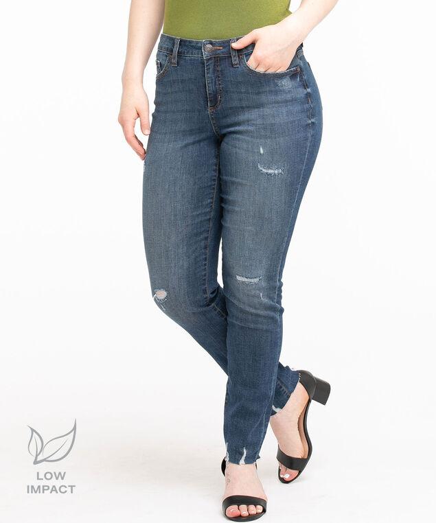 Low Impact Curvy Distressed Slim Jean, Vintage Wash