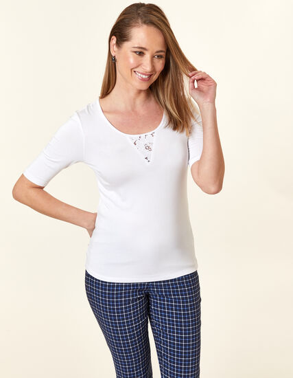 Lace Keyhole Top, White, hi-res