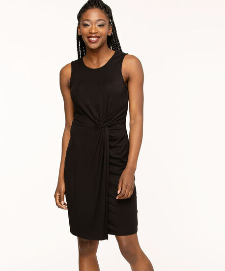 Black Sleeveless Twist Detail Dress, Black, hi-res