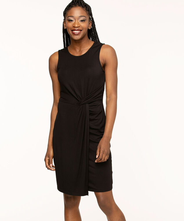 Black Sleeveless Twist Detail Dress, Black