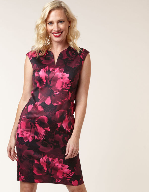 Pink Floral Sheath Dress, Black, hi-res
