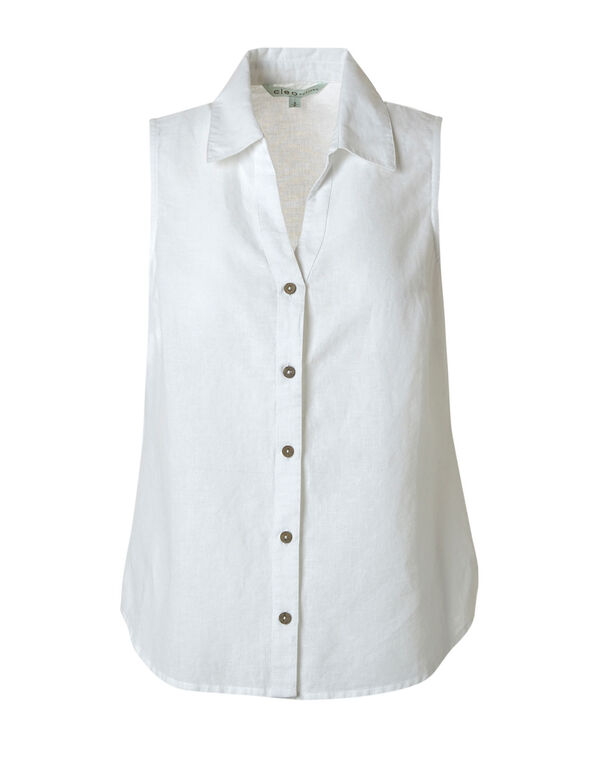 White Cotton Linen Blend Blouse, White, hi-res