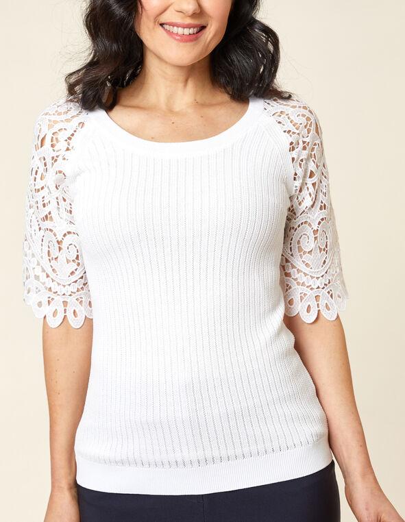 White Crochet Sweater, White, hi-res