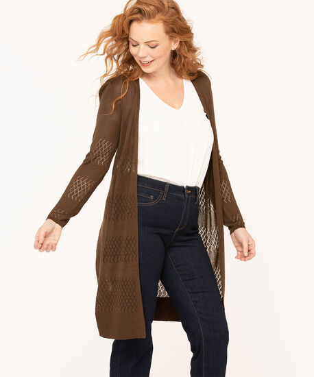 Pointelle Drawstring Long Cardigan, Brown, hi-res