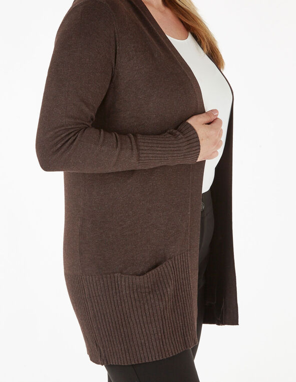 Dark Brown Essential Cardigan, Brown, hi-res