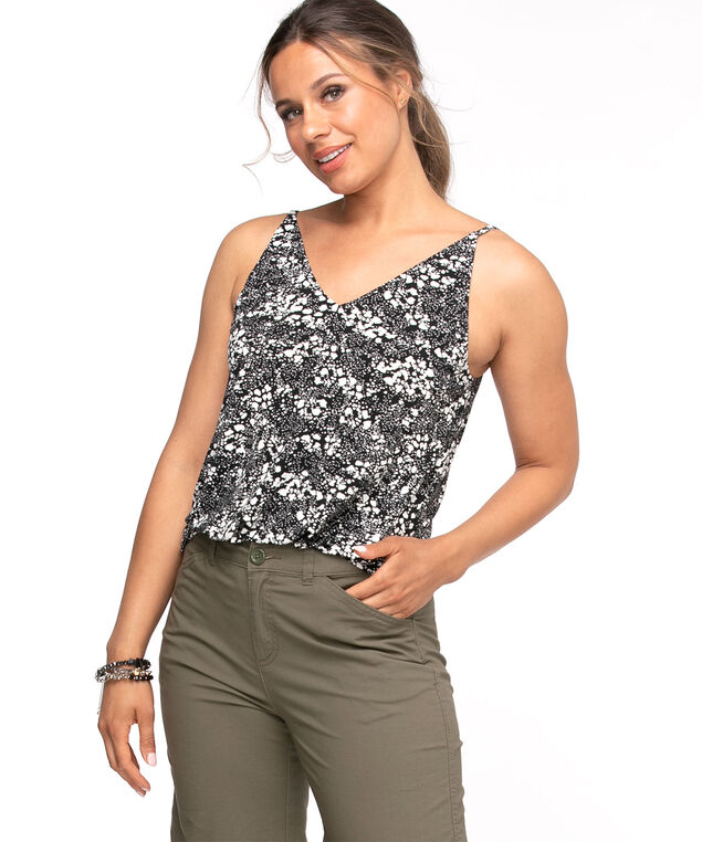 Printed V-Neck Strappy Tank, Abstract Print