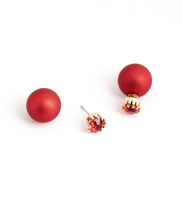Red Jewel Ball Earring, Red