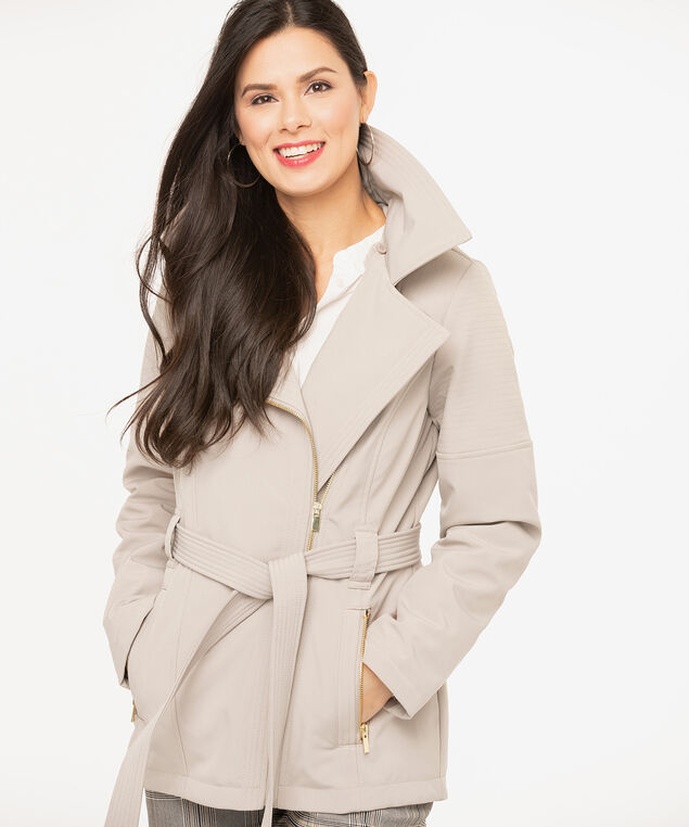 Tan Asymmetrical Soft Shell Jacket, Tan, hi-res