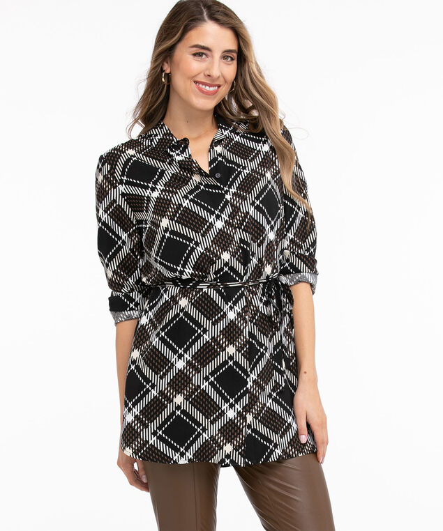 Tie Waist Tunic Blouse, Black/Ivory/Walnut Grid