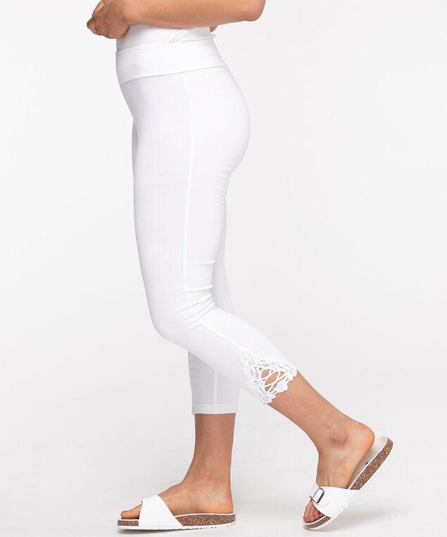 Lace Insert Capri Legging, White