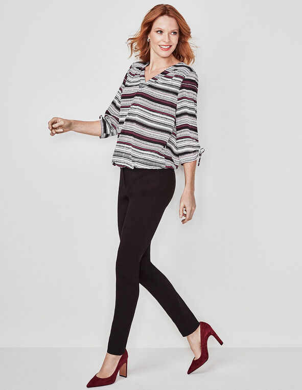 Sangria Striped Ruched Detail Blouse, White, hi-res