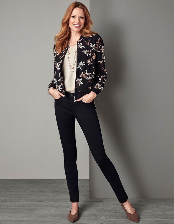 Black Floral Bomber Jacket, Black, hi-res