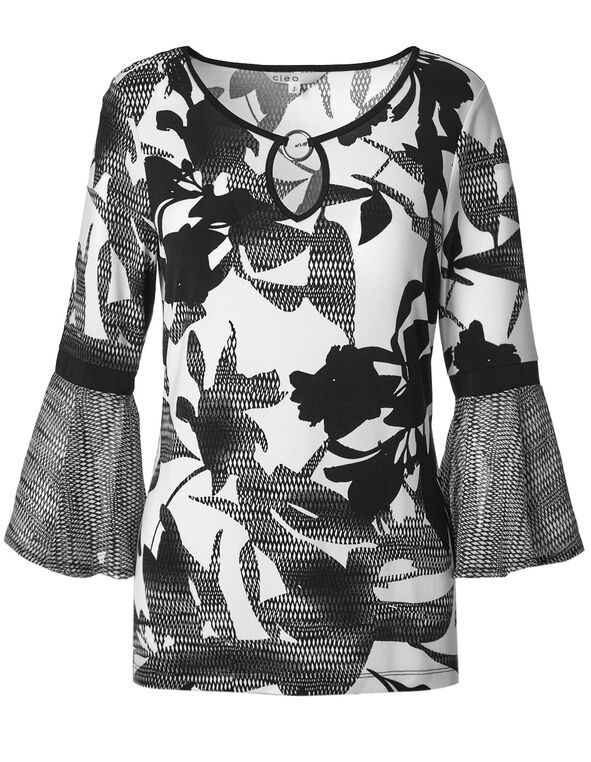 Black & White Sketch Floral Patterned Top, Black/White, hi-res