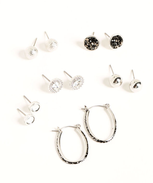 Crystal & Black Pave Earring 6-Pack, Silver/Black