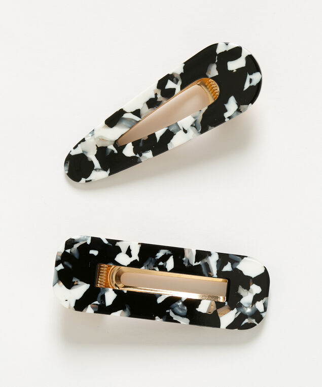 Black Mosaic Hair Clips, Black/Pearl/Grey, hi-res