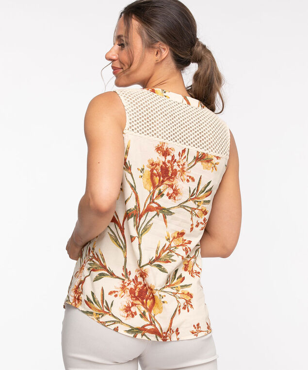 Cotton Button Front Sleeveless Blouse, Floral