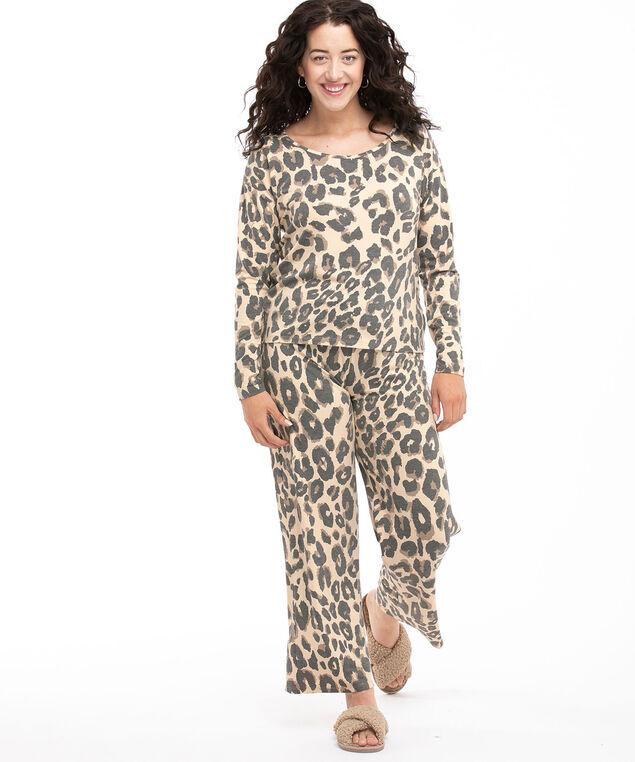 Super Soft Wide Leg Pyjama Set, Leopard Print