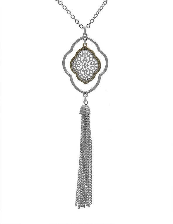 Long Silver Filigree Necklace, Silver, hi-res