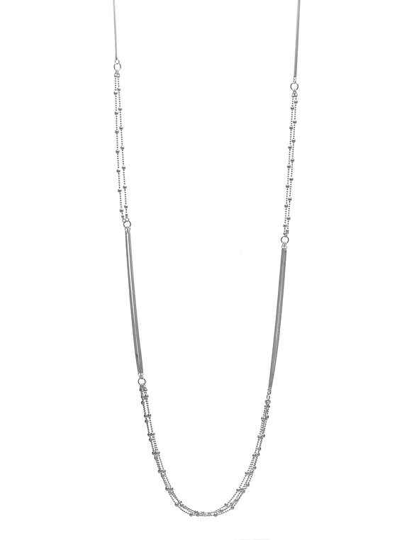 Long Silver Snake Chain Necklace, Silver, hi-res