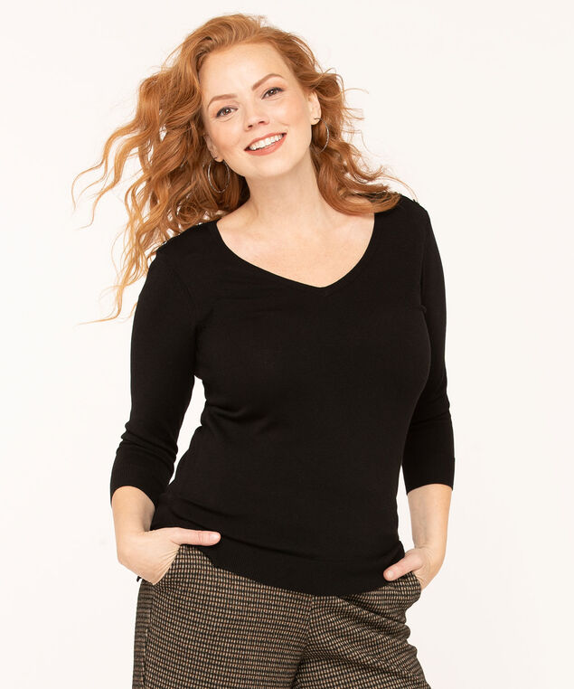 V-Neck Button Shoulder Sweater, Black, hi-res