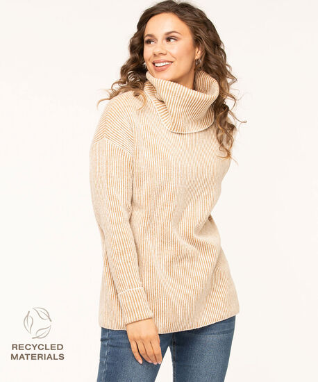 Recycled Ottoman Rib Sweater, Camel/Ivory, hi-res